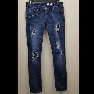 Hurley Super Skinny Distressed Dark Wash Jeans, 7